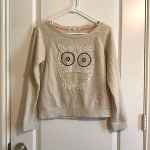 Cute Jolt french terry beige top owl appliqué S